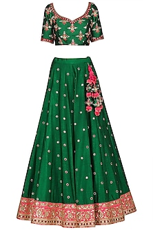 Green and Hot Pink Embroidered Lehenga Set