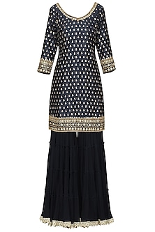 Dark Blue Embroidered Kurta with Gharara Pants Set by Megha & Jigar