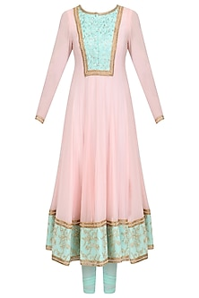 Baby Pink and Aqua Embroidered Anarkali Set by Megha & Jigar
