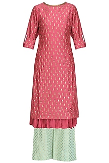 Pink Chanderi Straight Kurta and Aqua Palazzo Pants Set by Megha & Jigar