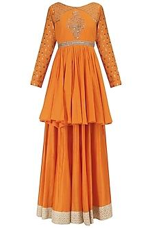 Orange Chanderi Embroidered Peplum and Skirt Set