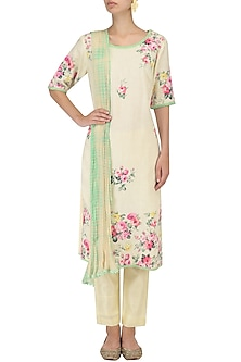 Lemon Floral Work Kurta Set by Megha & Jigar