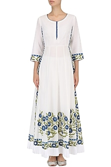 White Handpaint Straight Anarkali and Palazzo Pants Set by Megha & Jigar