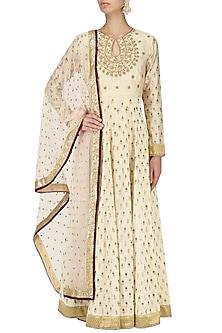 Off White Chanderi Anarkali Kurta and Palazzo Pants Set by Megha & Jigar