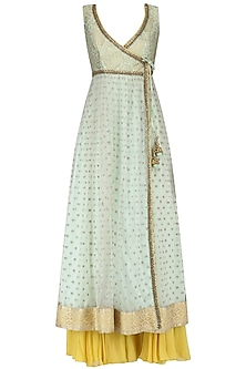 Mint Anarkali Kurta and Lemon Yellow Sharara Pants Set