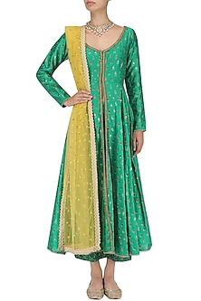 Green Chanderi Kurta and Palazzo Pants Set by Megha & Jigar