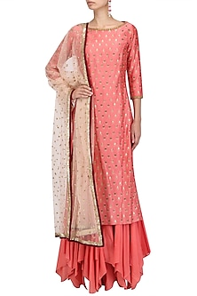 Peach Chanderi Kurta and Gharara Pants Set by Megha & Jigar