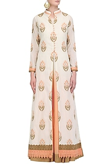 Off White Embroidered Jacket and Peach Ombre Slip Set by Megha & Jigar