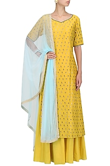 Yellow Chanderi Kurta and Sharara Pants Set by Megha & Jigar