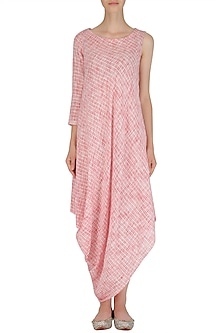 White and Red Textured Asymmetrical Cowl Drape Dress by Megha & Jigar