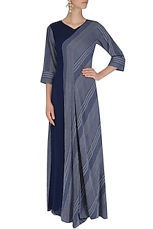 White and Blue Textured Cowl Drape Dress by Megha & Jigar