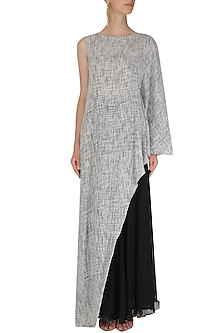 Black and Grey Textured Asymmetrical Top and Sharara Set by Megha & Jigar