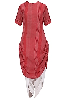 Red and White Textured Kurta and Dhoti Pants Set by Megha & Jigar