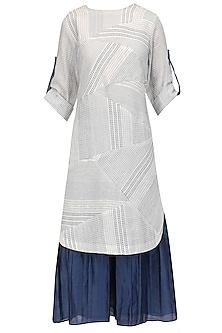 White and Blue Textured Kurta and Pleated Palazzo Set
