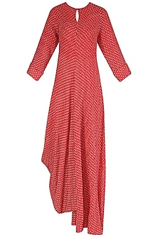 Red and White Textured Cowl Drape Dress by Megha & Jigar