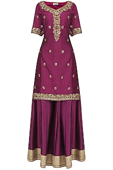 Wine and Rose Pink Embroidered Sharara Set by Megha & Jigar