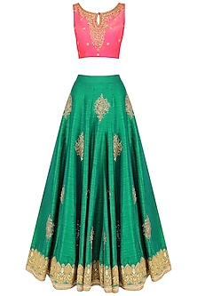 Green Embroidered Lehenga and Hot Pink Blouse Set