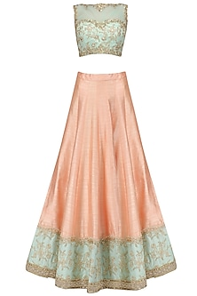 Peach Embroidered Lehenga and Aqua Blue Blouse Set by Megha & Jigar
