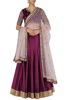 Wine Embroidered Lehenga and Blouse Set by Megha & Jigar