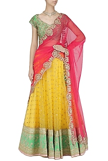 Yellow Embroidered Lehenga and Green Blouse Set by Megha & Jigar
