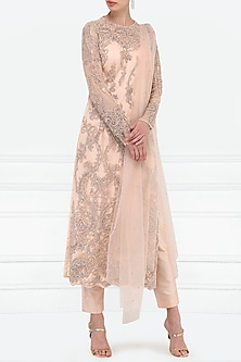 Mauve Embroidered Kurta with Pants Set by Megha & Jigar
