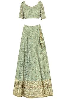 Fern Green Embroidered Lehenga Set by Megha & Jigar