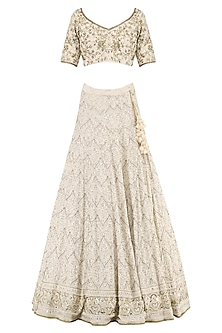 Ivory Embroidered Lucknavi Lehenga Set