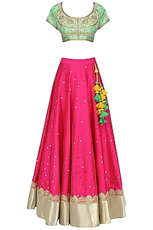 Green and Pink Embroidered Lehenga Set
