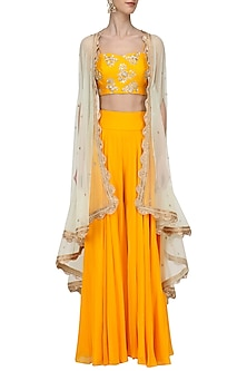 Mustard Embroidered Bustier and Sharara Set with Mint Cape by Megha & Jigar