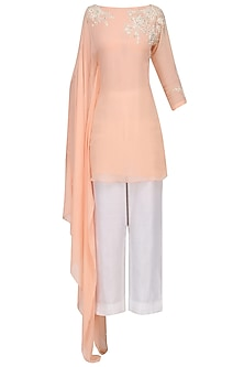 Peach Long Sleeves Tunic by Megha & Jigar