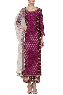 Wine Embroidered Kurta Set by Megha & Jigar