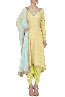 Lemon Yellow Chikankari Kurta and Dhoti Set by Megha & Jigar