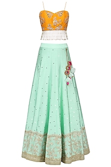 Mustard and Pink Floral Embroidery Lehenga Set by Megha & Jigar