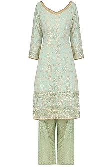 Aqua Sequins Embroidered Kurta with Banarasi Palazzo Pants by Megha & Jigar
