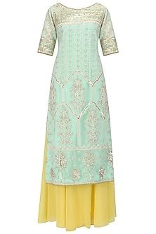 Aqua Sequins Embroidered Kurta and Sharara Pants Set by Megha & Jigar
