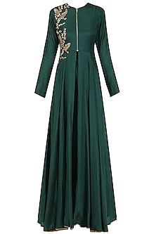 Green Sequins Embroidered Jacket and Sharara Set by Megha & Jigar