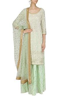 Pista Sequins Embroidered Kurta and Gota Patti Sharara Set by Megha & Jigar