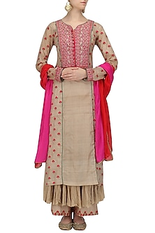 Beige Thread Work Yoke Kurta and Palazzo Set by Megha & Jigar