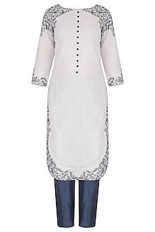 White Linen Dori Work Kurta and Trouser Set by Megha & Jigar