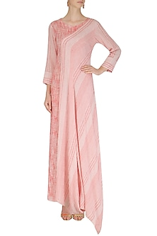 Pink and White Textured Drape Dress by Megha & Jigar