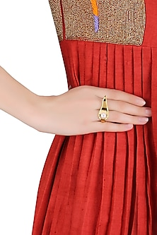 Gold Plated Pearl Wave Ring by Mirakin