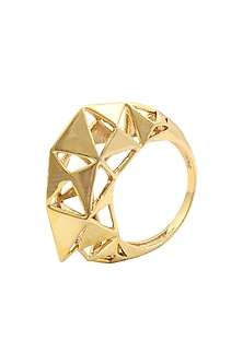Gold Plated Meshed Up Ring by Mirakin