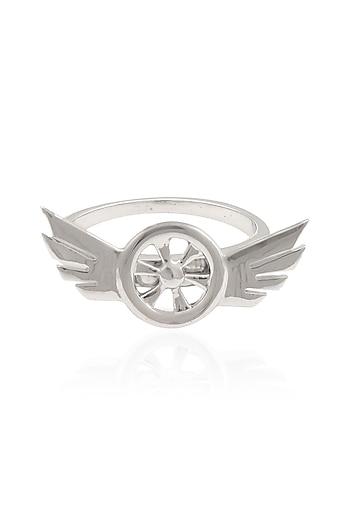 Silver Plated Rotating Biker Ring by Mirakin