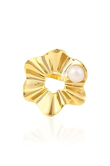 Gold Plated Pearl Flower Ring by Mirakin