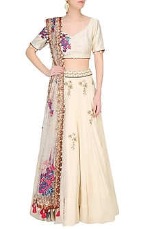 Vanilla Color Floral Embroidered Lehenga Set by Monika Nidhii