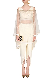 Off White Threadwork Crop Top And Embellished Cape Set by Monika Nidhii