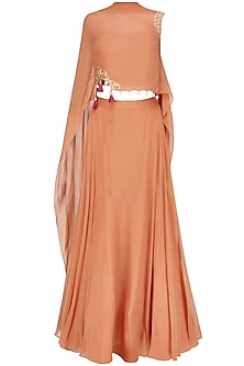 Iced Coffee Color Floral Cutwork One Sleeve Cape And Orange Skirt Set