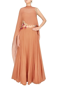 Iced Coffee Color Floral Cutwork One Sleeve Cape And Orange Skirt Set by Monika Nidhii