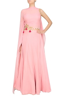 Baby Pink Floral Cutwork One Sleeve Cape And Skirt Set by Monika Nidhii