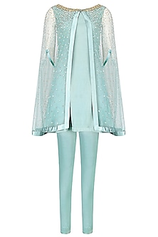 Frost Blue Embellished Front Open Cape, Shirt And Pants Set by Monika Nidhii